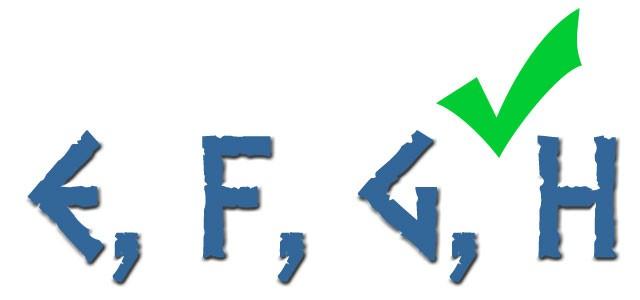 E, F, G y H